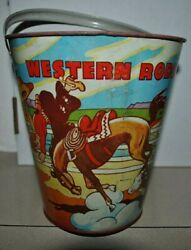 Large Vintage Metal Sand Pail Western Rodeo 71/2 Tall