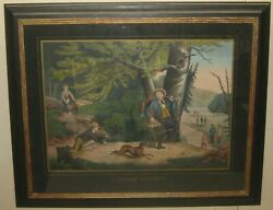 Antique Henry Schile Currier And Ives School 'sunday Sports' Hunting Lithograph