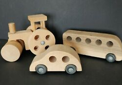 Vintage Creative Playthings Wooden Toys Set Of 3 Steamroller Car Bus Made In Usa
