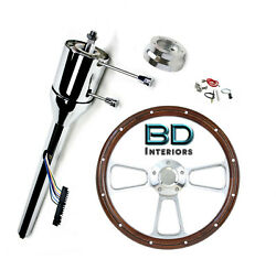 32 Universal Chrome Steering Column And Mahogany Steering Wheel With Gmc Horn