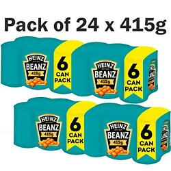 Heinz Beanz Baked Beans In Tomato Sauce Catering Tin Cans - Pack Of 24 X 415g