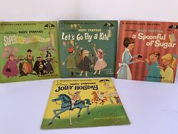Lot Of 4 Vtg Children's Disney Records 45 Rpm Spoonful Of Sugar Jolly Holiday