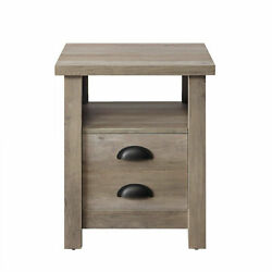 Gray Rustic Gray Farmhouse End Bedside Table Nightstand Shelf Storage Furniture