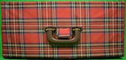 Abercrombie And Fitch And039deluxeand039 Mahogany Tackle Box W/ Royal Stewart Tartan Cover