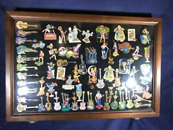 S2-95 Hard Rock Cafe Pins - 67 Pin Lot In Glass / Wood Case -67 Pins For 1 Price