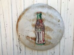 Vintage Coca-cola Beautifully Aged Classic Button Sign 36andrdquo