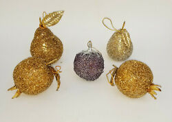 Lot Of 5 Vintage Beaded Pomegranate, Pear, Strawberry Christmas Ornament 4.5