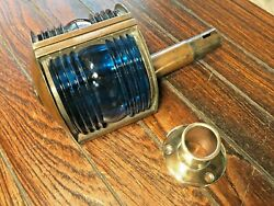 Vintage Removable Brass Bow Light, Red/green Glass Lens New Wire And Led