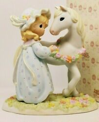Precious Moments Peace In The Valley 649929 - Le Beautiful Girl With White Horse