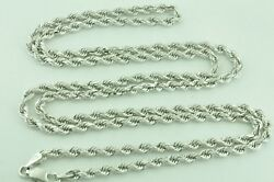 18.70 Grams 14k Solid White Gold Rope Necklace Chain 24 Inch Brand New
