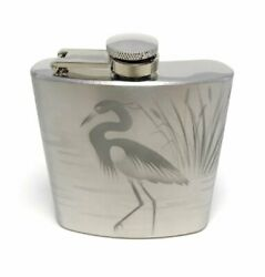Hand Etched Stainless Flask Sandblasted Engraved Bird Butterfly Cardinal Owl Bat