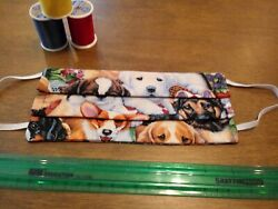 Face Mask: 100% Cotton Reusable Reversible - Stay Safe with CUDDLY PUPS! $5.99