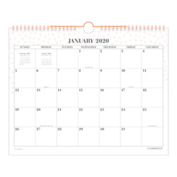 Cambridge WorkStyle Monthly Wall Calendar 15 x 12 Pink 2020 W1280-707-27-20