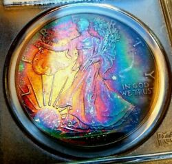Pcgs Ms66 1987 Andbull Silver Eagle Andbull Amazing Rainbow Tone 👹 Light My Fire