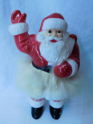 Rare Vtg Rosbro Christmas Hard Plastic Santa W/fur And Toys Candy Holder Container