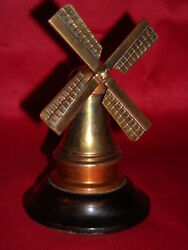Windmill Copper And Brass Wooden Base Art Deco 12cm