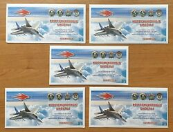 Lot 5 Sets Russia 18 Banknotes Combat Aircraft 2012 Unc E286 Рrivate Issue