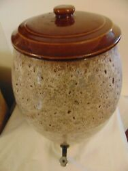 Rare Antique North Carolina Pottery Stoneware Water Cooler With Lid Nice