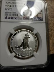 2006 1/2 Oz Silver Lunar Year Of The Dog Ngc Ms70 Series I
