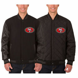 San Francisco 49ers Wool And Leather Reversible Jacket With Embroidered Logos Jhd