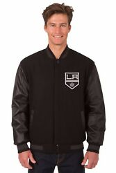 Los Angeles Kings Wool And Leather Reversible Jacket With Embroidered Logos Black