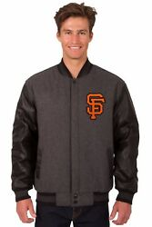 San Francisco Giants Wool And Leather Reversible Jacket With Embroidered Logos Gry