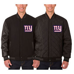 New York Giants Wool And Leather Reversible Jacket With Embroidered Logos Black
