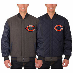 Chicago Bears Wool And Leather Reversible Jacket With Embroidered Logos Jhd