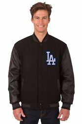 Mlb Los Angeles Dodgers Wool And Leather Reversible Jacket With Embroidered Logos