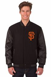 San Francisco Giants Wool And Leather Reversible Jacket With Embroidered Logos