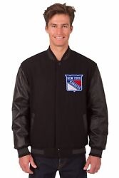New York Rangers Wool And Leather Reversible Jacket With Embroidered Logos Black