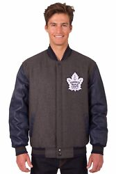 Toronto Maple Leafs Wool And Leather Reversible Jacket With Embroidered Logos Gray