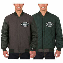 New York Jets Wool And Leather Reversible Jacket With Embroidered Logos Charcoal