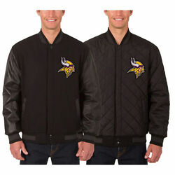 Minnesota Vikings Wool And Leather Reversible Jacket With Embroidered Logos Black