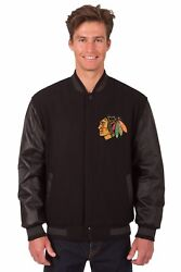 Nhl Chicago Blackhawks Wool And Leather Reversible Jacket With Embroidered Logos