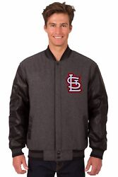 St Louis Cardinals Wool And Leather Reversible Jacket With Embroidered Logos Gray
