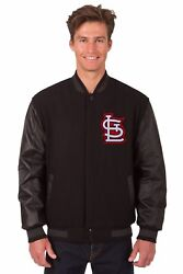 St Louis Cardinals Wool And Leather Reversible Jacket With Embroidered Logos Black