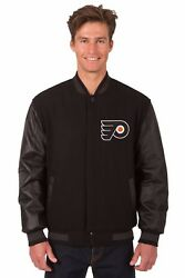 Nhl Philadelphia Flyers Wool And Leather Reversible Jacket With Embroidered Logos