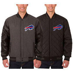 Buffalo Bills Wool And Leather Reversible Jacket With Embroidered Logos Gray Jhd