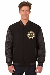 Nhl Boston Bruins Wool And Leather Reversible Jacket With Embroidered Logos Black