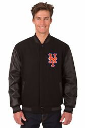 Mlb New York Mets Wool And Leather Reversible Jacket With Embroidered Logos Black