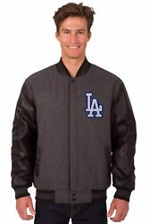 Los Angeles Dodgers Wool And Leather Reversible Jacket With Embroidered Logos Grey