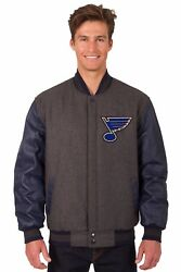 Nhl St Louis Blues Wool And Leather Reversible Jacket With Embroidered Logos