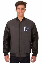Mlb Kansas City Royals Wool And Leather Reversible Jacket With Embroidered Logos