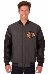 Chicago Blackhawks Wool And Leather Reversible Jacket With Embroidered Logos Gray