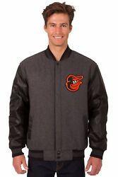 Baltimore Orioles Wool And Leather Reversible Jacket With Embroidered Logos Gray