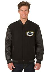 Green Bay Packers Jh Design Wool And Leather Reversible Jacket Embroidered Logo