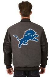 Nfl Detroit Lions Jh Design Wool And Leather Reversible Jacket Embroidered