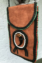 Vintage Native American Leather Seed Medicine Bag Pouch Beaded Claw Design