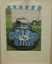 Original Walter Buttrick And039ginetta At Lime Rockand039 British Race Car Color Linocut